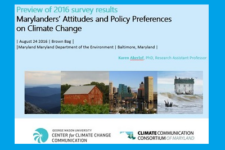 Preview of 2016 survey results: Marylanders' attitudes and policy preferences on climate change