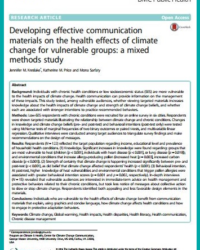 Developing effective communication materials on the health effects of climate change for vulnerable groups: a mixed methods study